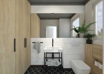 Łazienka z białymi płyytkami ściennymi oraz czarnymi geometrycznymi płytkami posadzkowymi oraz drzwiami od szafki z jasnego drewna