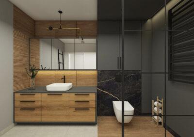 Projekt łazienki z grafitowymi ścianami oraz wykończeniem z drewna zaprojektowane przez studio hex