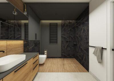 Projekt łazienki z płytkami imitującymi marmur i drewno zaprojektowana przez studio hex