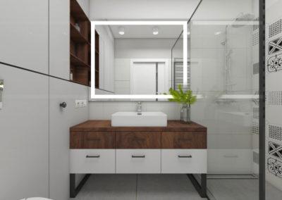 Łazienka z dużym lustrem LED i patchworkowymi płytkami ściennymi