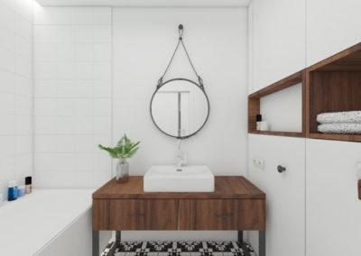 Minimalistyczna biała łazienka z drewnianym wykończeniem i eleganckim okrągłym lustrem