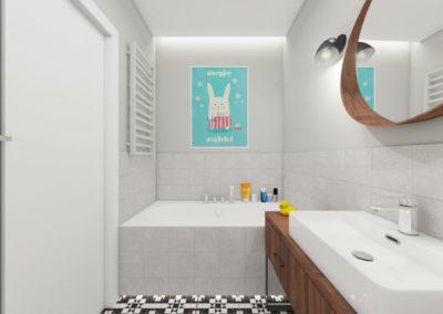 Łazienka dziecięca z zabudowaną wanną i szarymi płytkami oraz czarno białymi płytkami podłogowymi