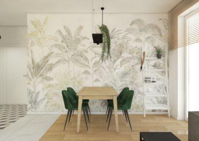 Elegancka jadalnia z motywem roślinnym, zielonymi welurowymi krzesłami zaprojektowana przez studio hex