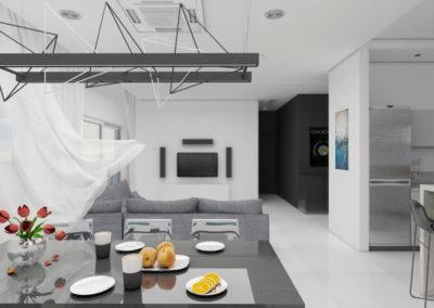 Projekt wnętrza strefy dziennej, kuchni, salonu i jadalni wykonany przez studio hex