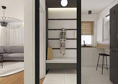 Widok na czarnobiały wiatrołap w minimalistycznym mieszkaniu