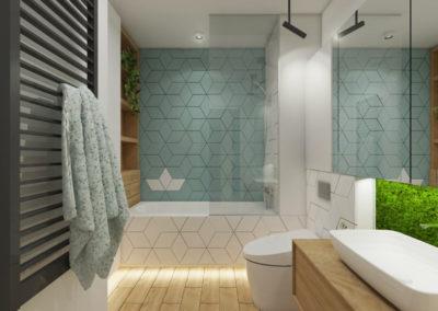 Łazienka z płytkami niebieskimi w kształcie rombów ze wzorem statku z orgiami