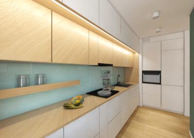 Miętowy lacobel w białodrewnianej kuchni zaprojektowanej przez studio hex Wieliczka