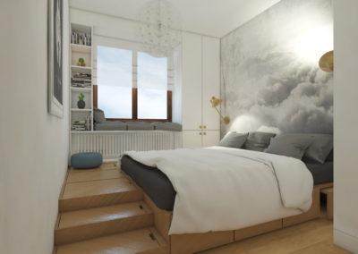 Sypialnia z tapetą z chmurami i łóżkiem na podwyższeniu