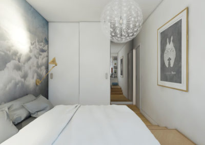 Projekt sypialni z białymi ścianami i tapetą z chmurami oraz białą szafą
