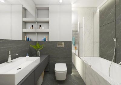 Łazienka z grafitowymi płytkami na ścianie i zabudowaną wanną