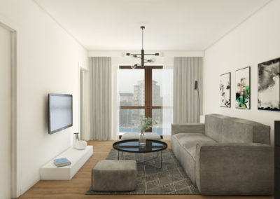Salon, strefa dzienna z szarą sofą i pufami