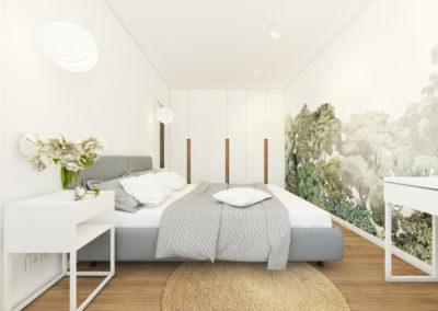 Sypialnia z białymi ścianami oraz białymi meblami z roślinną tapetą