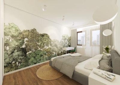 Elegancka sypialnia z drewnianą podłogą oraz roślinną tapetą