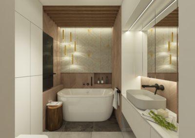 Przytulna mała łazienka z wanną wolnostojącą i złotymi elementami dekoracyjnymi