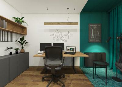 Biuro z hamakiem i strefą w morskim kolorze