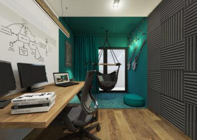 Biuro domowe z stanowiskiem komputerowym i strefą muzyczną z hamakiem