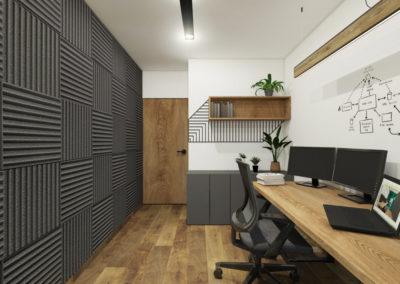 Domowe biuro z panelami akustycznymi i drewnianymi meblami