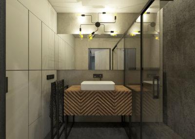 Industrialna ciemna łazienka z mikro cementem