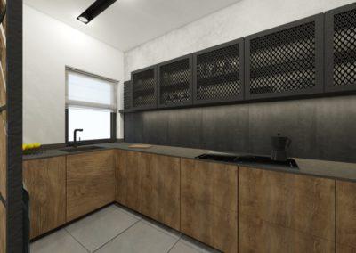 Industrialna kuchnia z ciemnym wykończeniem z siatką ciętą ciągnioną na frontach kuchennych