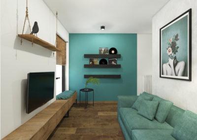 Pokój gościnny ze ścianą i sofą w kolorze morskim