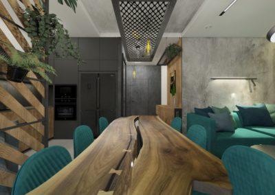 Jadalnia z drewnianym stołem z surowego drewna