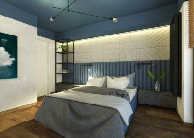 Sypialnia z niebieskimi ścianami i sufitem z drewnianą podłogą