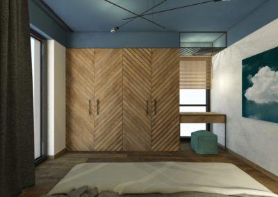 Sypialnia niebieskim sufitem z deską warstwowa na podłodze oraz drewnianą szafą ze wzorem jodełki