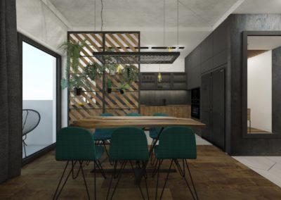 Eleganckie ciemne wnętrze jadalni zaprojektowane przez studio hex