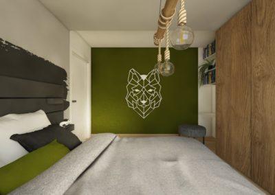 Sypialnia grafitową i zieloną ścianą, drewnianą szafą