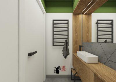 Nowoczesna łazienka z drewnianym wykończeniem i zielonym sufitem
