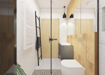 Łazienka z jasnymi płytkami imitującymi drewno zaprojektowany przez studio hex Wieliczka