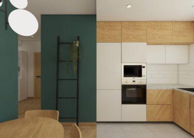 Kuchnia z drewnianymi frontami szafek i zielonymi ścianami