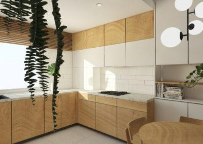 Jasna kuchnia z drewnianymi frontami