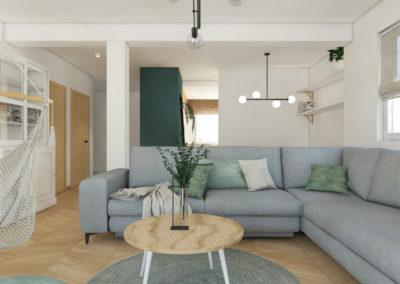 Jasny salon z szarą sofą