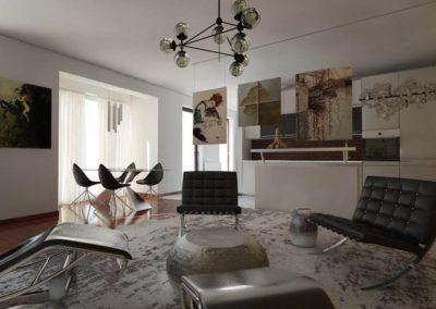 Elegancki salon ze skórzanymi fotelami zaprojektowany przez studio hex