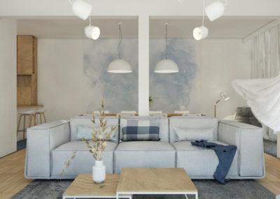 Projekt salonu z jasną sofą tapeta błękitna akwarelowa, stolik kawowy dębowy