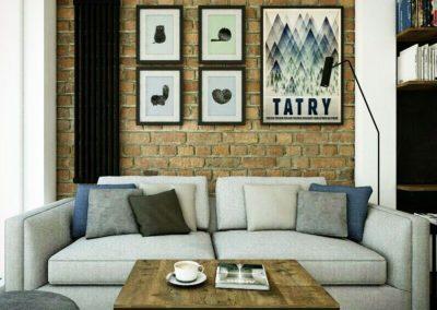 Projekt salonu z szarą sofą oraz z ceglaną ścianą
