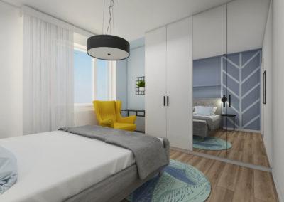 sypialnia z białymi meblami i lustrzanymi drzwiami lustrzanymi