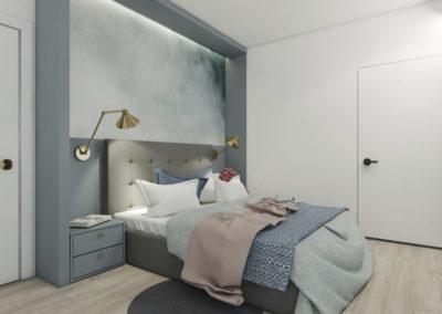 Klimatyczna sypialnia w pastelowych kolorach z szaro-białymi ścianami