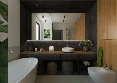 Łazienka z ciemnymi płytkami