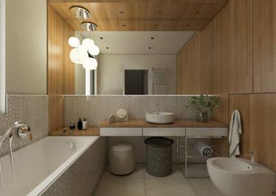 Jasna łazienka obudowana jasnym drewnem z zabudowaną wanną