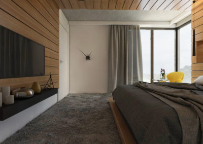 Sypialnia obudowana drewnianymi deskami