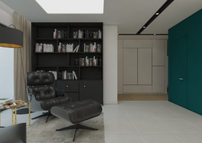 Gabinet z biblioteczką oraz skórzanym fotelem