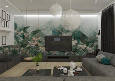 Nowoczesny salon z motywem roślinnym zaprojektowany przez studio hex