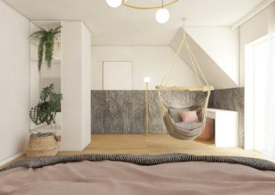 Projekt sypialni z roślinną tapetą na ścianach i ukrytymi drzwiami oraz wiszącym hamakiem