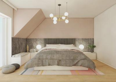 Projekt sypialni na poddaszu z roślinną tapetą na ścianach w kolorze delikatnego różu z łóżkiem z szarą narzutą