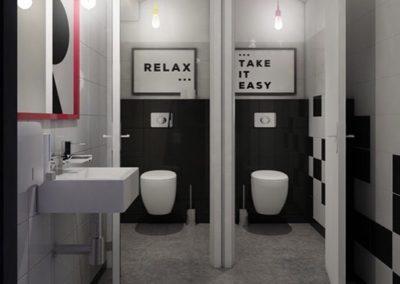 Projekt toalet w pubie w odcieniach czerni i bieli