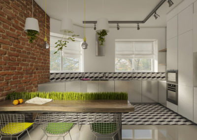 Kuchnia z ceglaną ścianą i zielonymi dodatkami