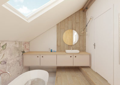Pastelowa łazienka z motywem kwiatowym i wanną wolno stojącą zaprojektowana przez studio hex