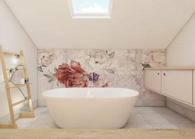 Pastelowa łazienka z tapetą kwiatową i wanną wolnostojącą zaprojektowana przez studio hex